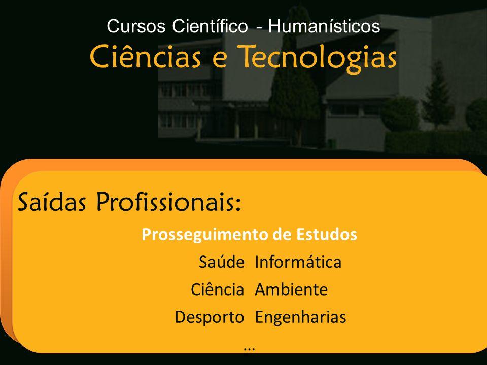 Cursos Científico - Humanísticos Ciências e Tecnologias Escola Secundária de Arganil Saídas Profissionais: Prosseguimento de Estudos SaúdeInformática