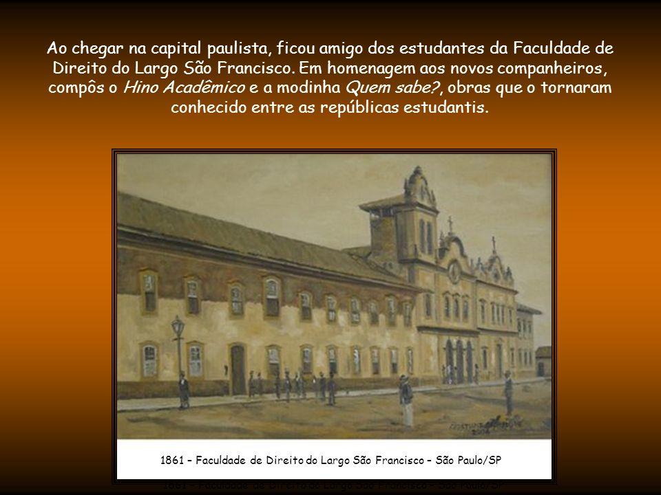 Desde este período, Carlos Gomes já compunha canções religiosas e modinhas românticas - que sempre estiveram presentes em seu repertório.
