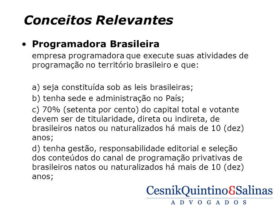 Conceitos Relevantes Programadora Brasileira empresa programadora que execute suas atividades de programação no território brasileiro e que: a) seja c
