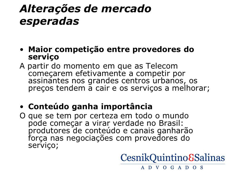 Alterações de mercado esperadas Maior competição entre provedores do serviço A partir do momento em que as Telecom começarem efetivamente a competir p