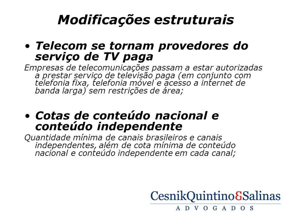 Modificações estruturais Telecom se tornam provedores do serviço de TV paga Empresas de telecomunicações passam a estar autorizadas a prestar serviço