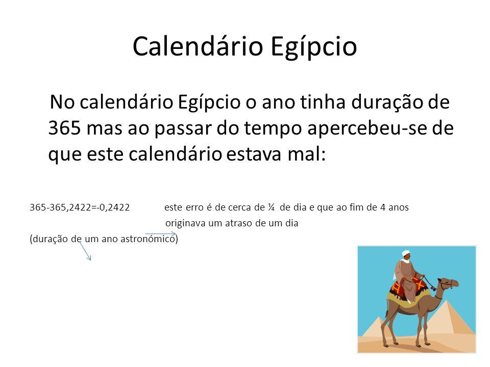 Calendário Egípcio No calendário Egípcio o ano tinha duração de 365 mas ao passar do tempo apercebeu-se de que este calendário estava mal: 365-365,242