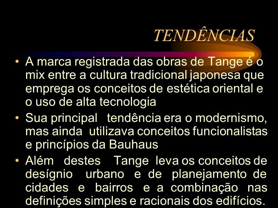 A marca registrada das obras de Tange é o mix entre a cultura tradicional japonesa que emprega os conceitos de estética oriental e o uso de alta tecno