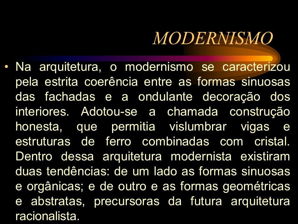 Na arquitetura, o modernismo se caracterizou pela estrita coerência entre as formas sinuosas das fachadas e a ondulante decoração dos interiores. Adot