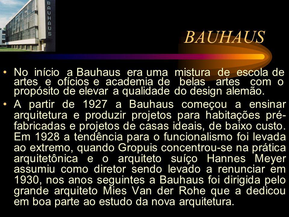 No início a Bauhaus era uma mistura de escola de artes e ofícios e academia de belas artes com o propósito de elevar a qualidade do design alemão. A p