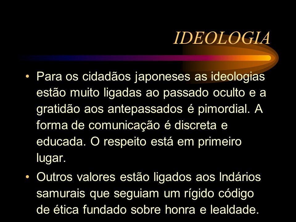 Para os cidadãos japoneses as ideologias estão muito ligadas ao passado oculto e a gratidão aos antepassados é pimordial. A forma de comunicação é dis