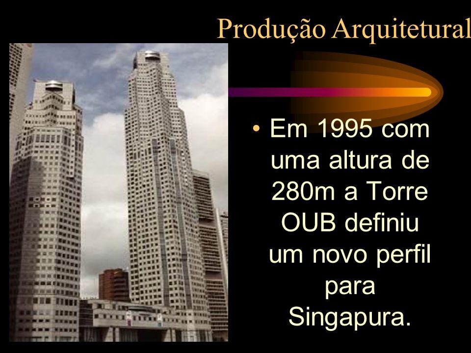Em 1995 com uma altura de 280m a Torre OUB definiu um novo perfil para Singapura. Produção Arquitetural