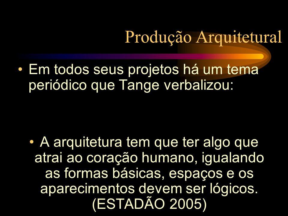 Produção Arquitetural Em todos seus projetos há um tema periódico que Tange verbalizou: A arquitetura tem que ter algo que atrai ao coração humano, ig