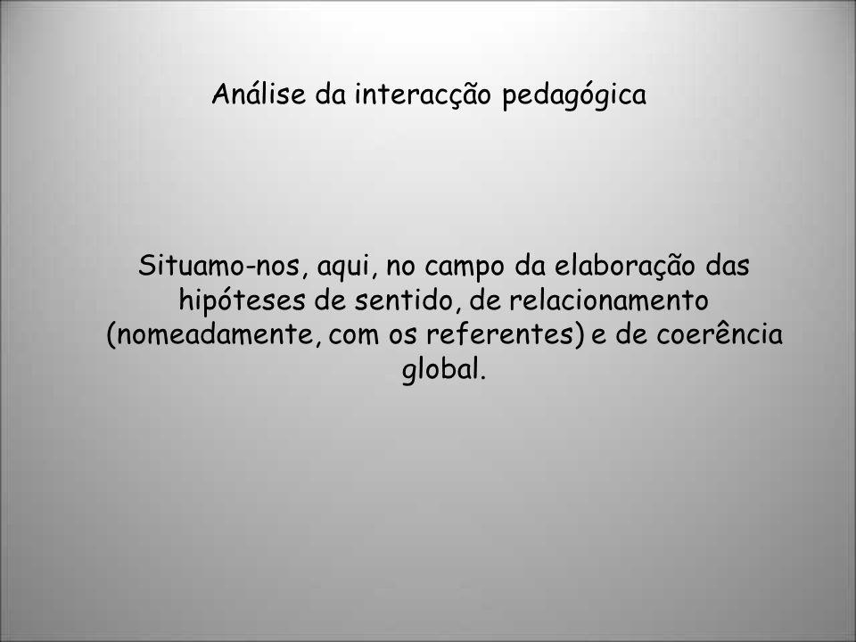 Análise da interacção pedagógica Situamo-nos, aqui, no campo da elaboração das hipóteses de sentido, de relacionamento (nomeadamente, com os referentes) e de coerência global.