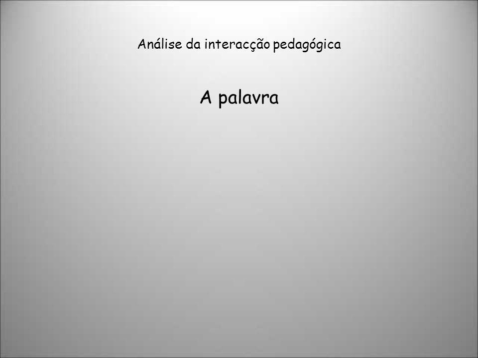Análise da interacção pedagógica A palavra