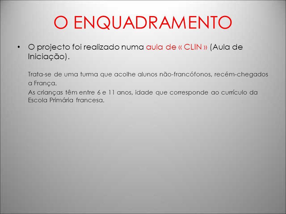 O ENQUADRAMENTO O projecto foi realizado numa turma de CLIN (turma de iniciação).