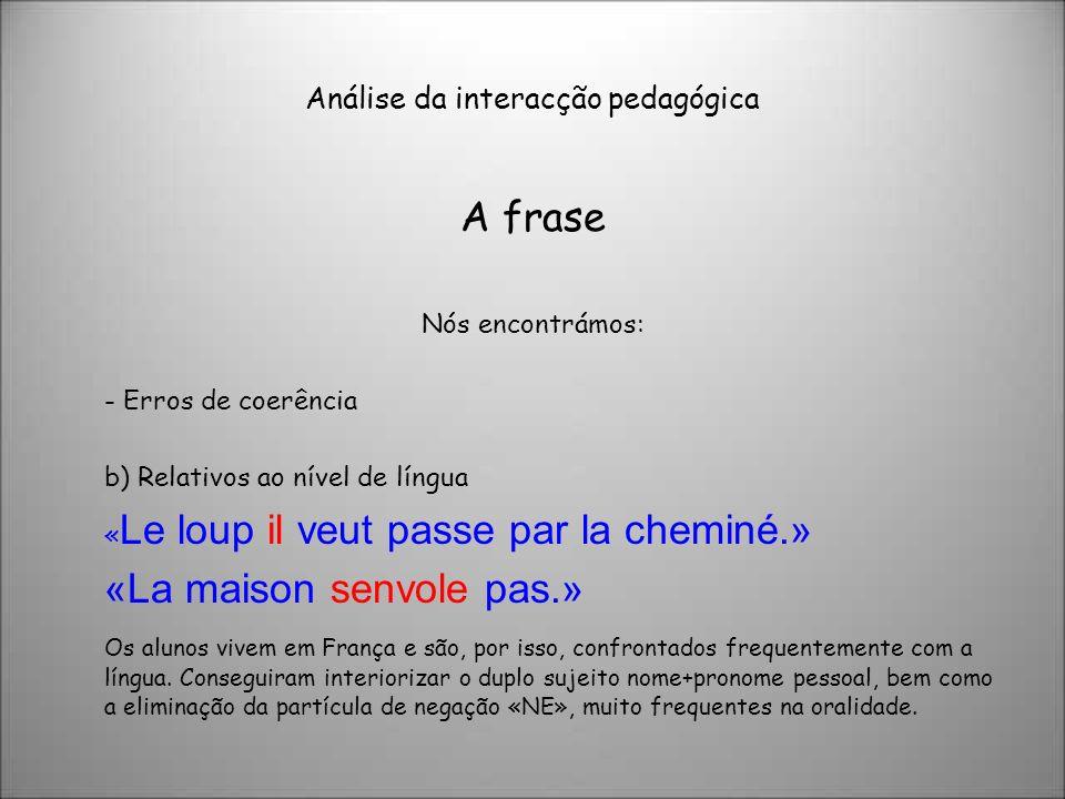 Análise da interacção pedagógica A frase Nós encontrámos: - Erros de coerência b) Relativos ao nível de língua « Le loup il veut passe par la cheminé.