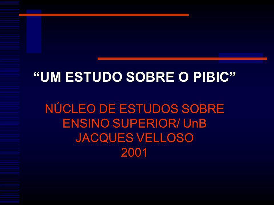 UM ESTUDO SOBRE O PIBIC NÚCLEO DE ESTUDOS SOBRE ENSINO SUPERIOR/ UnB JACQUES VELLOSO 2001