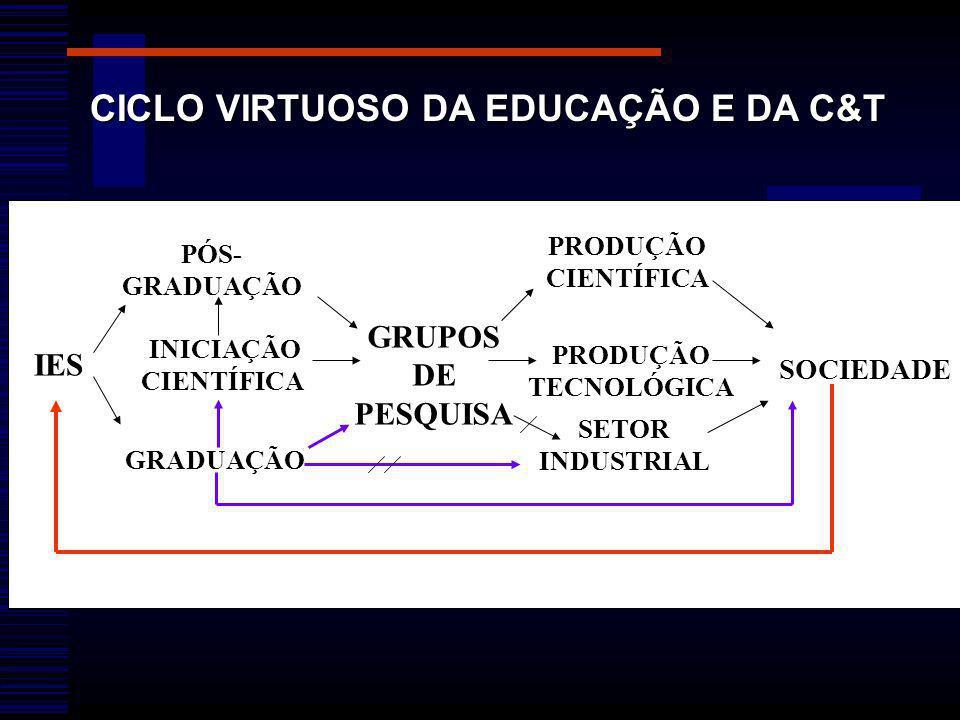 IES PÓS- GRADUAÇÃO INICIAÇÃO CIENTÍFICA GRADUAÇÃO GRUPOS DE PESQUISA PRODUÇÃO CIENTÍFICA PRODUÇÃO TECNOLÓGICA SETOR INDUSTRIAL SOCIEDADE CICLO VIRTUOS