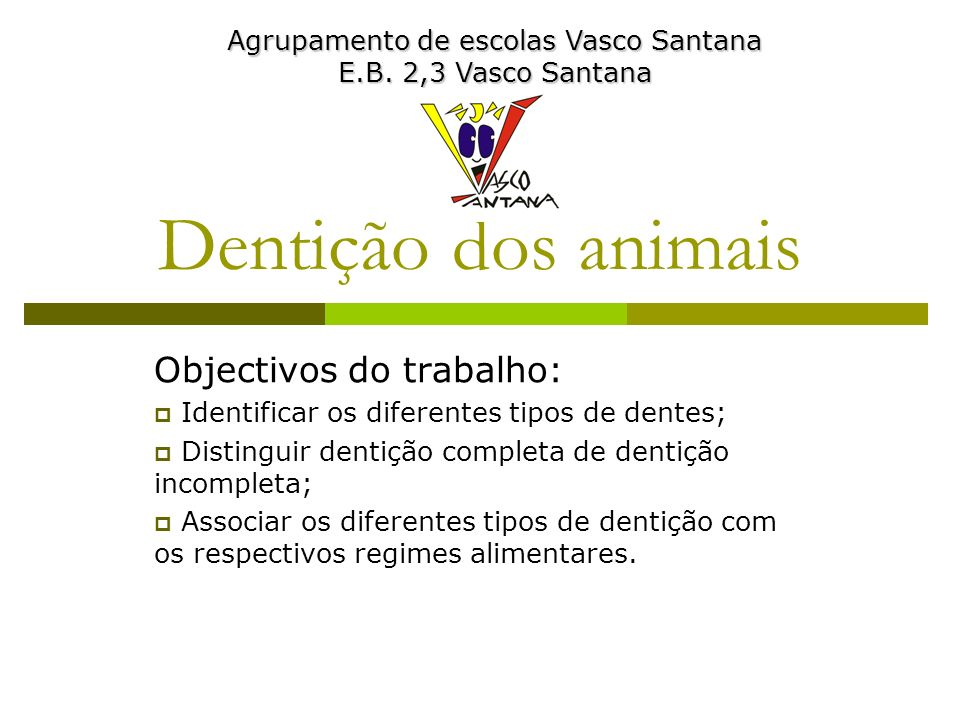 Dentição dos animais Objectivos do trabalho: Identificar os diferentes tipos de dentes; Distinguir dentição completa de dentição incompleta; Associar