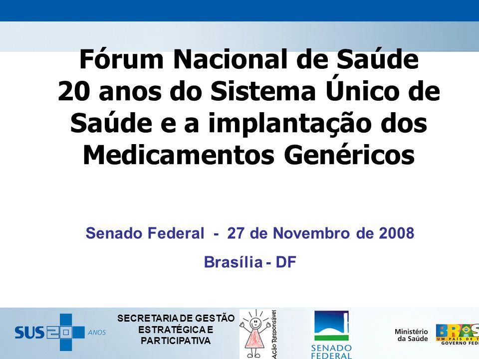 Senado Federal - 27 de Novembro de 2008 Brasília - DF SECRETARIA DE GESTÃO ESTRATÉGICA E PARTICIPATIVA Fórum Nacional de Saúde 20 anos do Sistema Únic