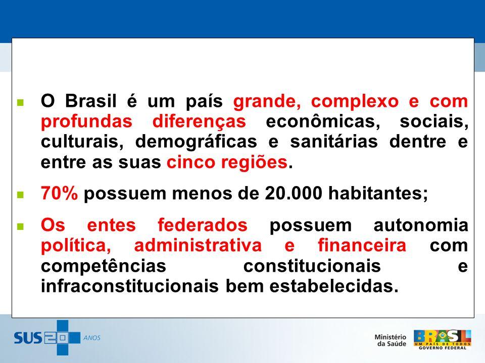 O Brasil é um país grande, complexo e com profundas diferenças econômicas, sociais, culturais, demográficas e sanitárias dentre e entre as suas cinco