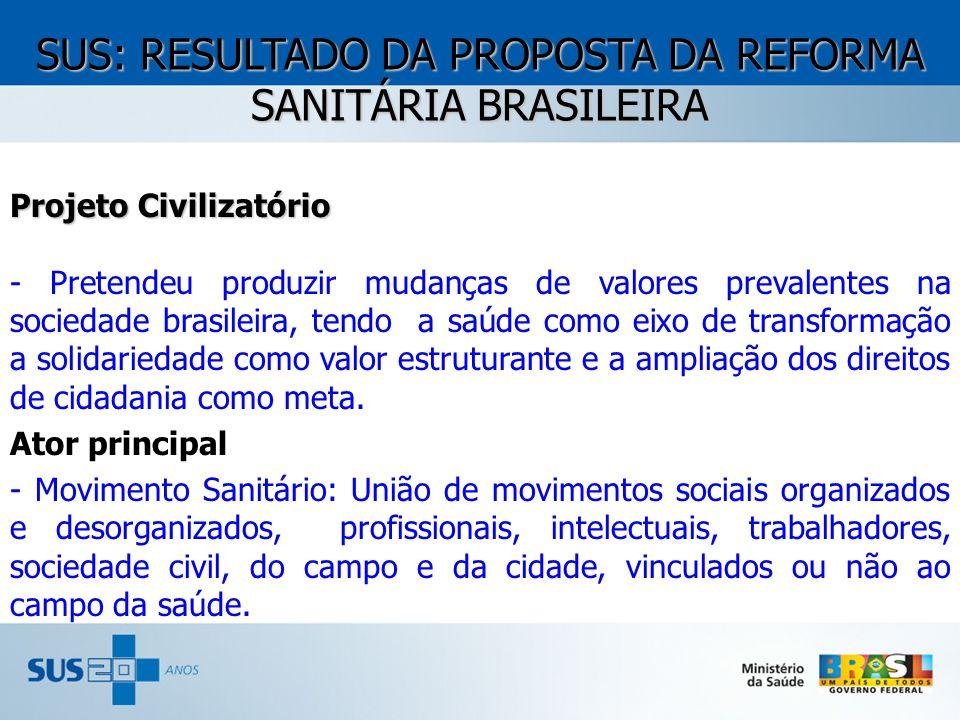Projeto Civilizatório - Pretendeu produzir mudanças de valores prevalentes na sociedade brasileira, tendo a saúde como eixo de transformação a solidar
