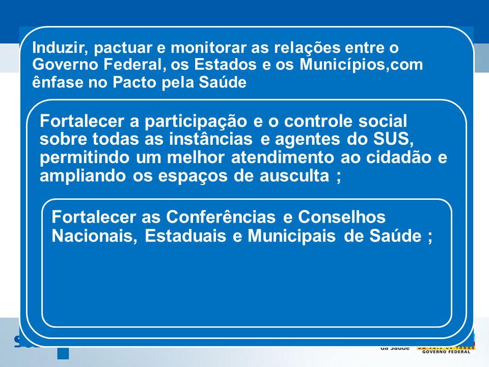 Induzir, pactuar e monitorar as relações entre o Governo Federal, os Estados e os Municípios,com ênfase no Pacto pela Saúde Fortalecer a participação