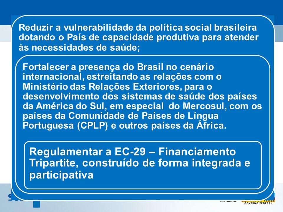 Reduzir a vulnerabilidade da política social brasileira dotando o País de capacidade produtiva para atender às necessidades de saúde; Fortalecer a pre