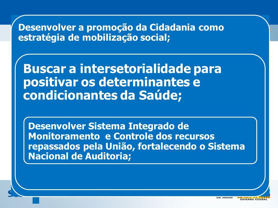 Desenvolver a promoção da Cidadania como estratégia de mobilização social; Buscar a intersetorialidade para positivar os determinantes e condicionante