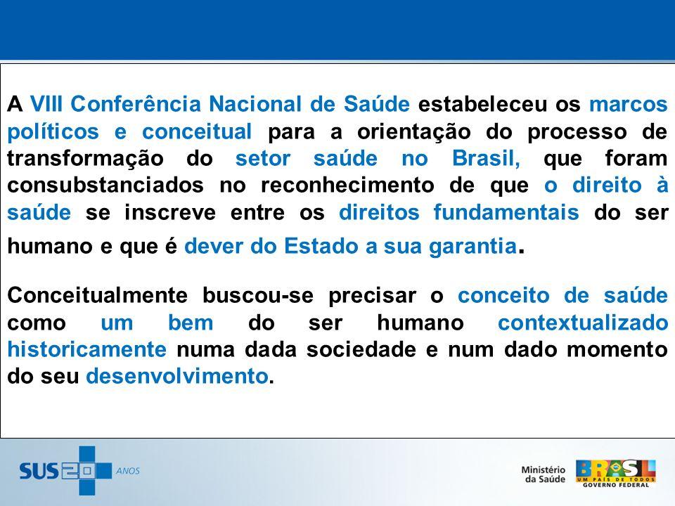 A VIII Conferência Nacional de Saúde estabeleceu os marcos políticos e conceitual para a orientação do processo de transformação do setor saúde no Bra