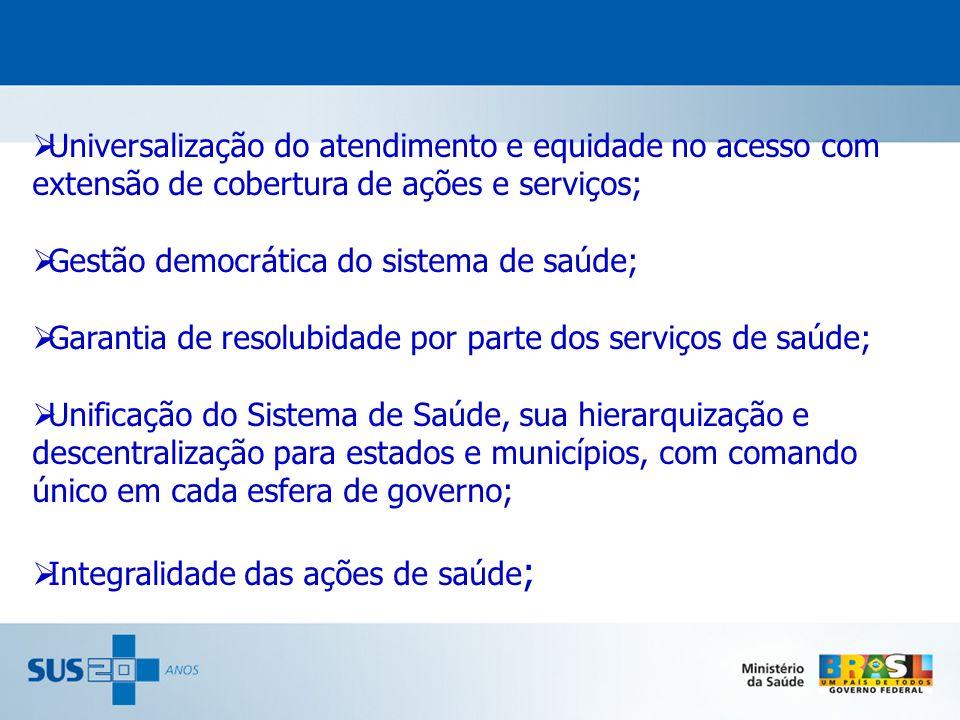Universalização do atendimento e equidade no acesso com extensão de cobertura de ações e serviços; Gestão democrática do sistema de saúde; Garantia de