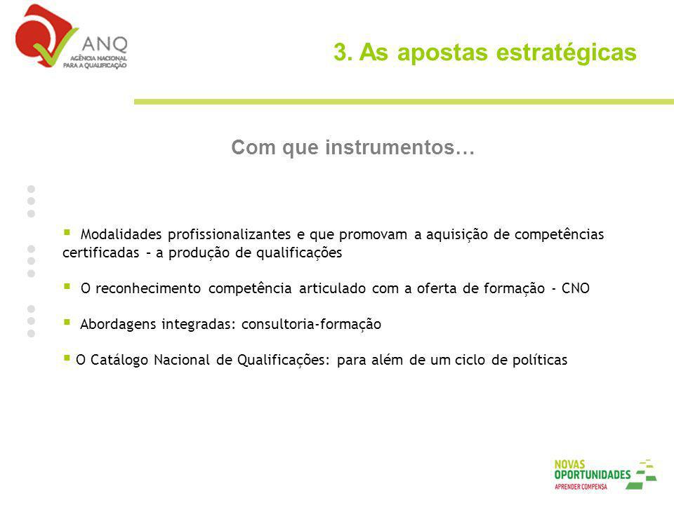 3. As apostas estratégicas Com que instrumentos… Modalidades profissionalizantes e que promovam a aquisição de competências certificadas – a produção