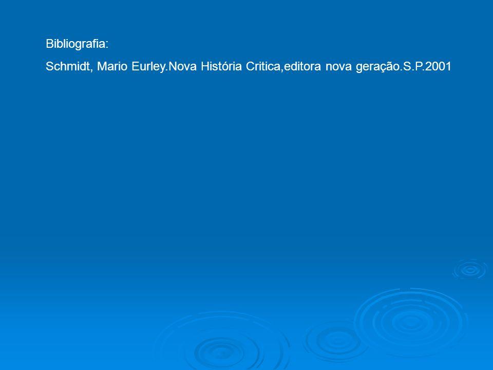 Bibliografia: Schmidt, Mario Eurley.Nova História Critica,editora nova geração.S.P.2001