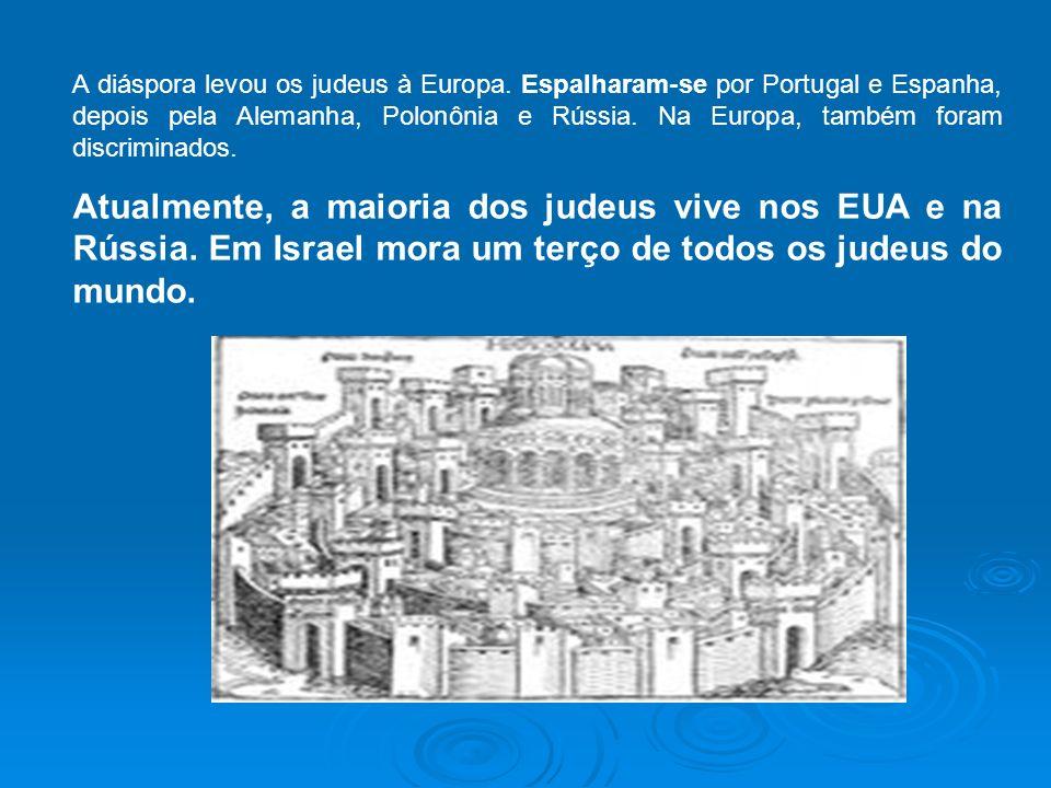 A diáspora levou os judeus à Europa. Espalharam-se por Portugal e Espanha, depois pela Alemanha, Polonônia e Rússia. Na Europa, também foram discrimin