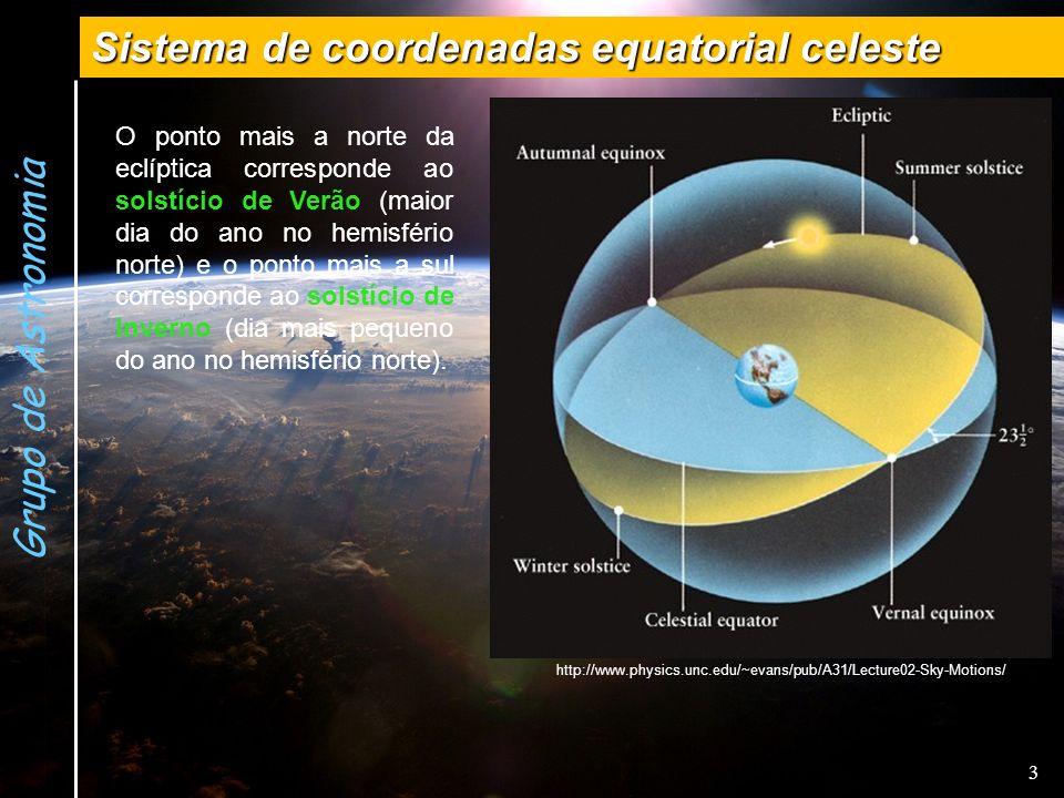 3 Grupo de Astronomia Sistema de coordenadas equatorial celeste O ponto mais a norte da eclíptica corresponde ao solstício de Verão (maior dia do ano