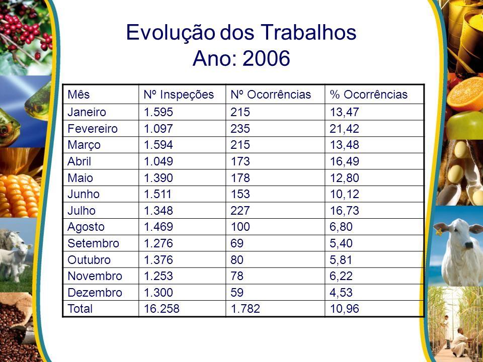 Evolução dos Trabalhos Ano: 2006 MêsNº InspeçõesNº Ocorrências% Ocorrências Janeiro1.59521513,47 Fevereiro1.09723521,42 Março1.59421513,48 Abril1.0491