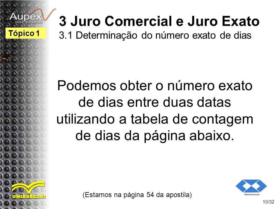 (Estamos na página 54 da apostila) 10/32 Tópico 1 3 Juro Comercial e Juro Exato 3.1 Determinação do número exato de dias Podemos obter o número exato