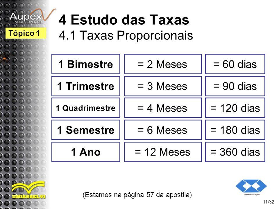 (Estamos na página 57 da apostila) 11/32 Tópico 1 4 Estudo das Taxas 4.1 Taxas Proporcionais 1 Bimestre= 2 Meses= 60 dias 1 Trimestre= 3 Meses= 90 dia