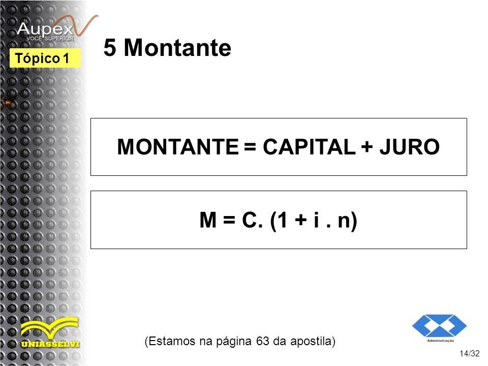 (Estamos na página 63 da apostila) 14/32 Tópico 1 5 Montante MONTANTE = CAPITAL + JURO M = C. (1 + i. n)