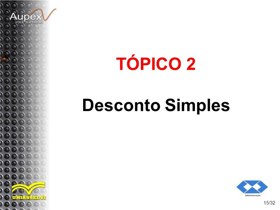 TÓPICO 2 Desconto Simples 15/32