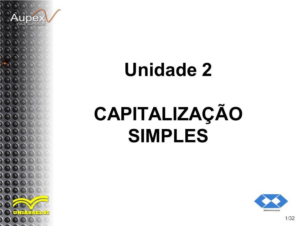Unidade 2 CAPITALIZAÇÃO SIMPLES 1/32