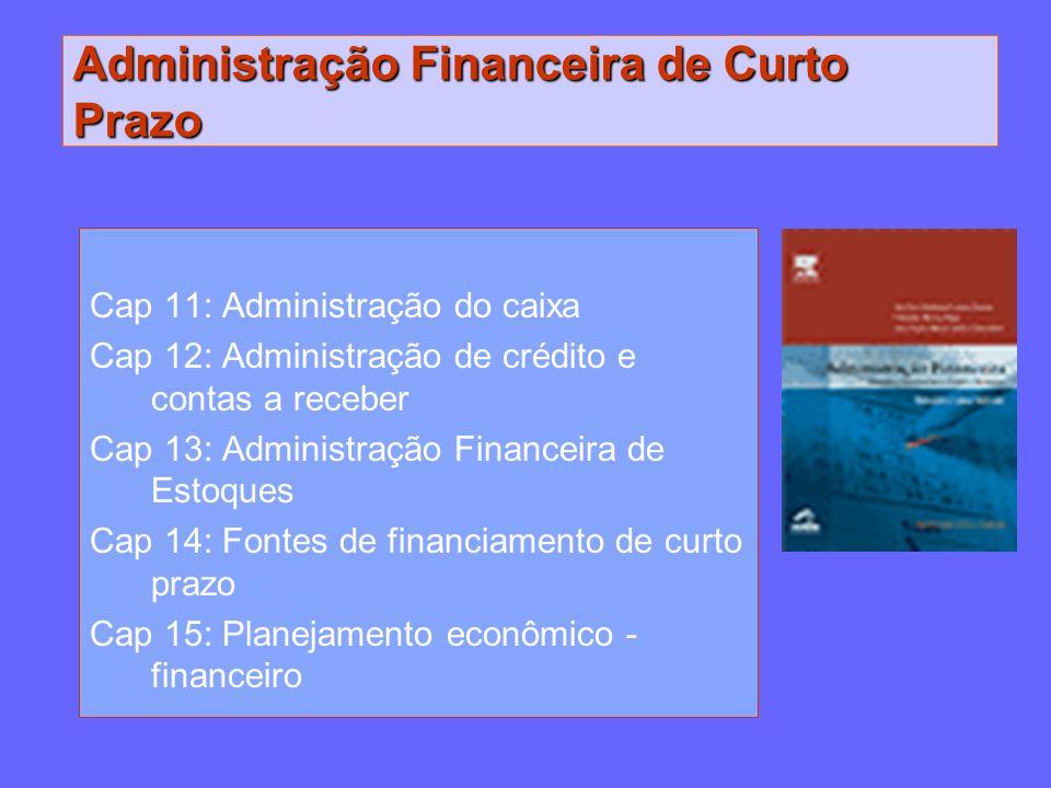 Cap 11: Administração do caixa Cap 12: Administração de crédito e contas a receber Cap 13: Administração Financeira de Estoques Cap 14: Fontes de fina