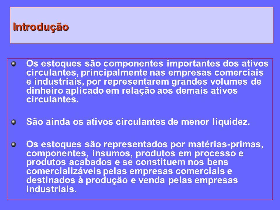 Os estoques são componentes importantes dos ativos circulantes, principalmente nas empresas comerciais e industriais, por representarem grandes volume