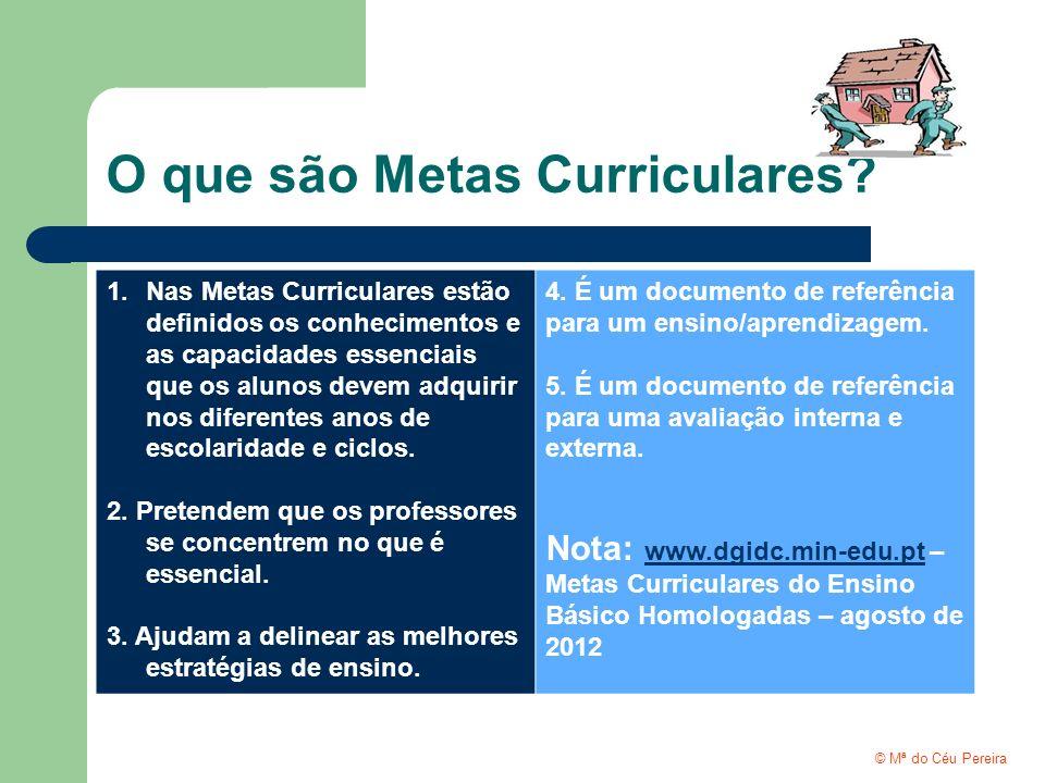 O que são Metas Curriculares? 1.Nas Metas Curriculares estão definidos os conhecimentos e as capacidades essenciais que os alunos devem adquirir nos d