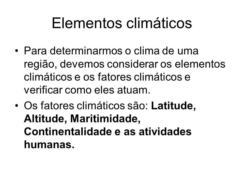 Elementos climáticos Para determinarmos o clima de uma região, devemos considerar os elementos climáticos e os fatores climáticos e verificar como ele