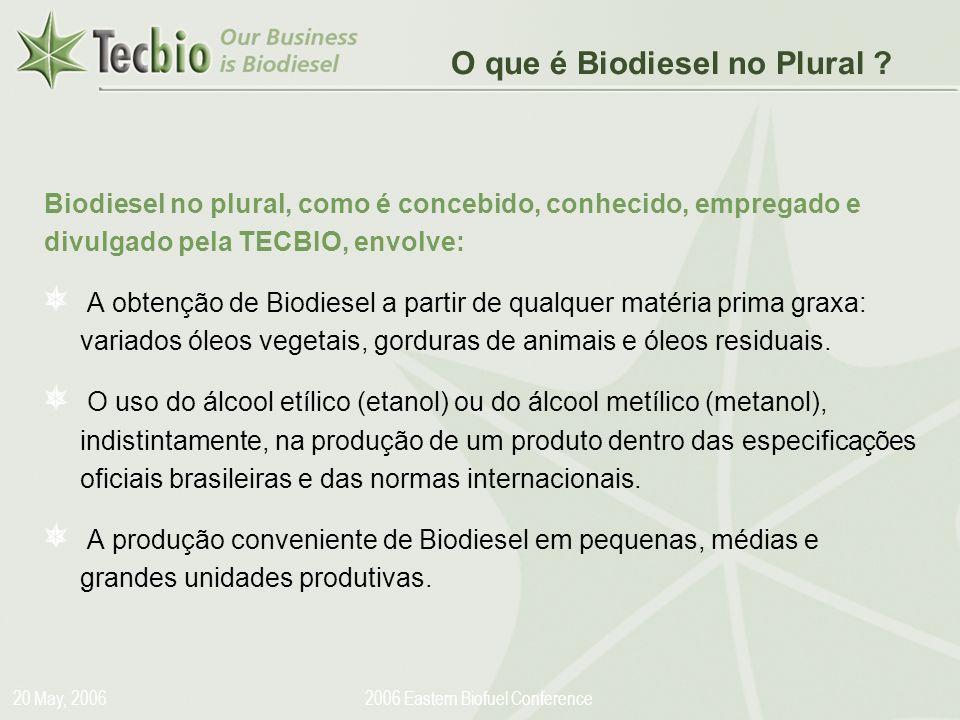 Biodiesel in the Plural 20 May, 20062006 Eastern Biofuel Conference Biodiesel no plural, como é concebido, conhecido, empregado e divulgado pela TECBI