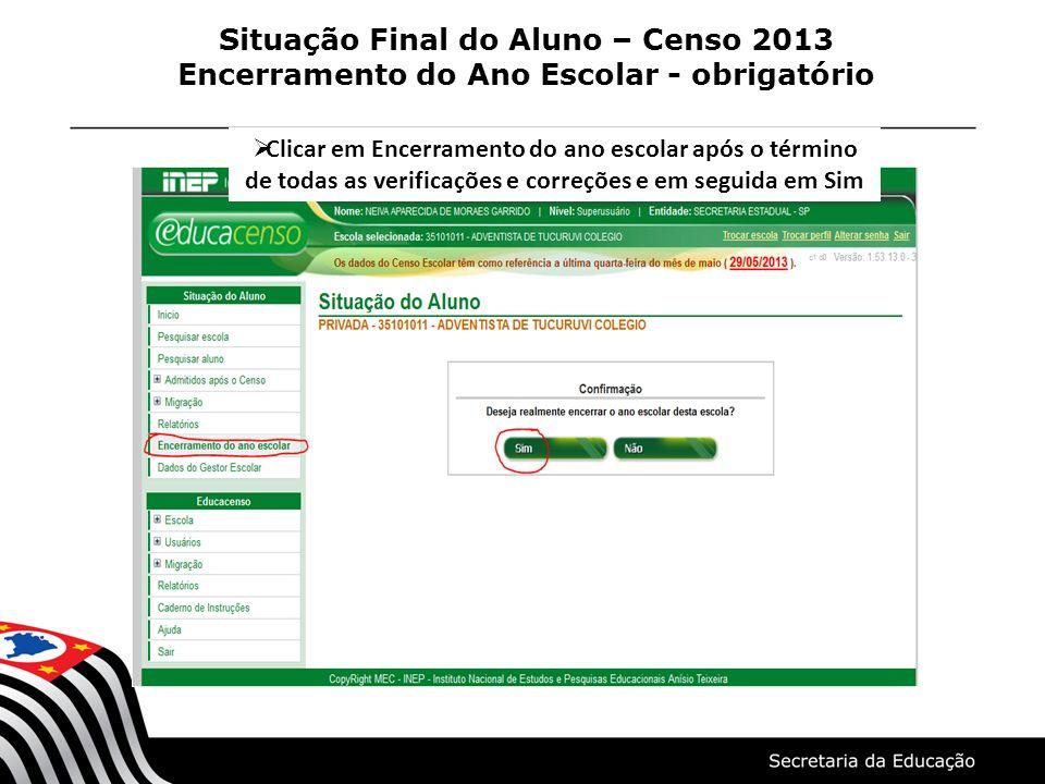 Situação Final do Aluno – Censo 2013 Encerramento do Ano Escolar - obrigatório Clicar em Encerramento do ano escolar após o término de todas as verifi