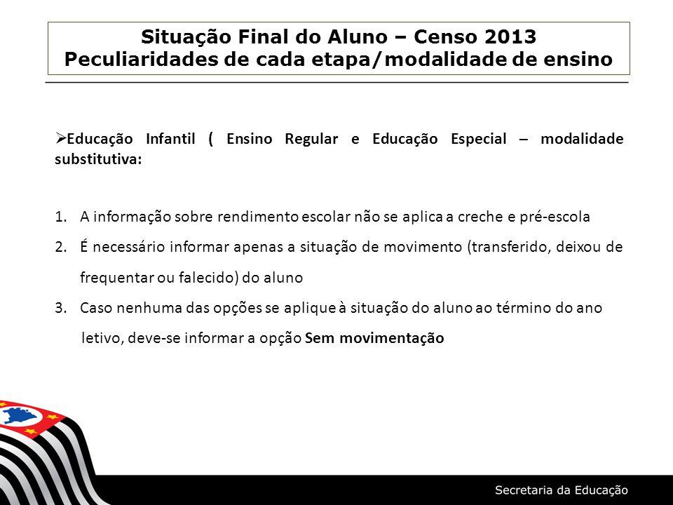 Situação Final do Aluno – Censo 2013 Peculiaridades de cada etapa/modalidade de ensino Educação Infantil ( Ensino Regular e Educação Especial – modali