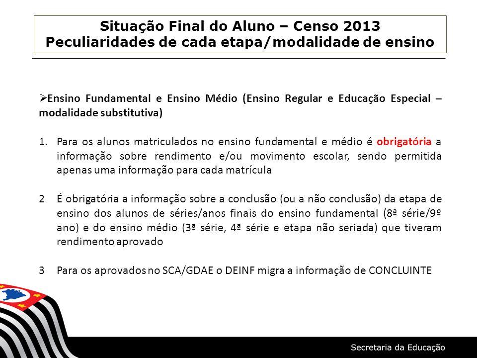 Situação Final do Aluno – Censo 2013 Peculiaridades de cada etapa/modalidade de ensino Ensino Fundamental e Ensino Médio (Ensino Regular e Educação Es