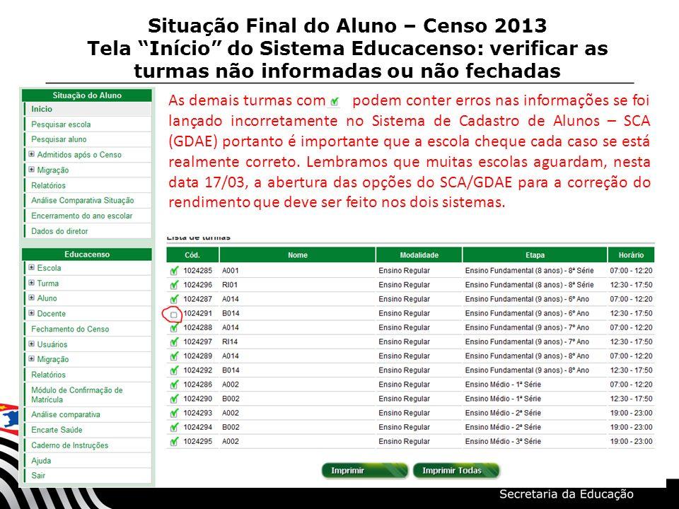 Situação Final do Aluno – Censo 2013 Tela Início do Sistema Educacenso: verificar as turmas não informadas ou não fechadas As demais turmas com podem