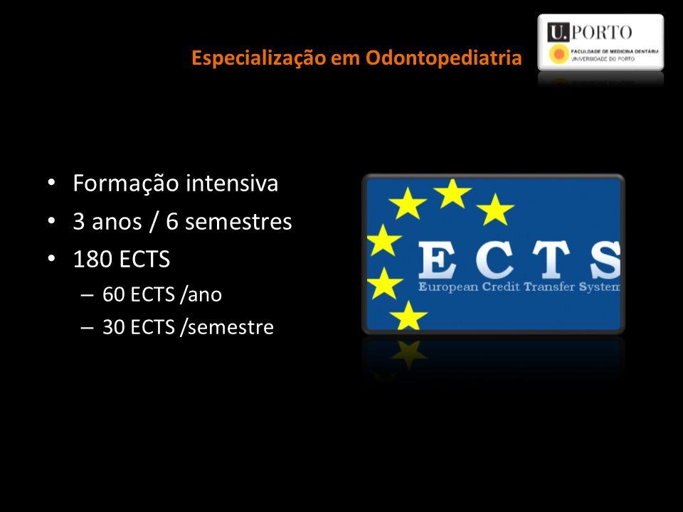 Formação intensiva 3 anos / 6 semestres 180 ECTS – 60 ECTS /ano – 30 ECTS /semestre Especialização em Odontopediatria
