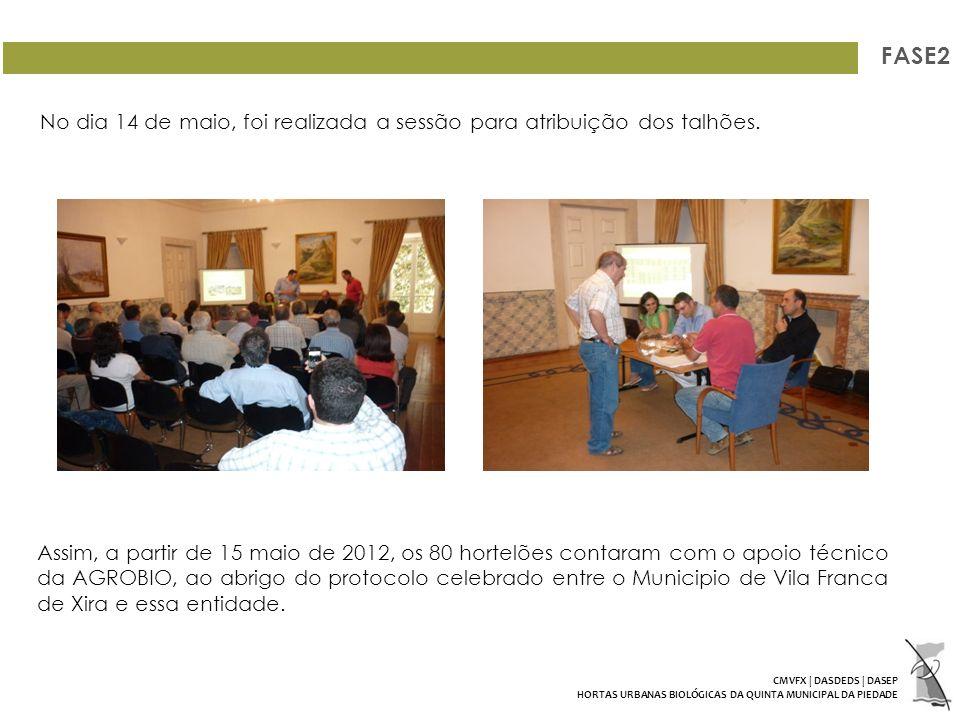 FASE2 Assim, a partir de 15 maio de 2012, os 80 hortelões contaram com o apoio técnico da AGROBIO, ao abrigo do protocolo celebrado entre o Municipio de Vila Franca de Xira e essa entidade.