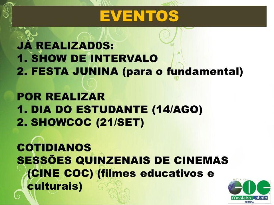 EVENTOS JÁ REALIZAD0S: 1. SHOW DE INTERVALO 2. FESTA JUNINA (para o fundamental) POR REALIZAR 1. DIA DO ESTUDANTE (14/AGO) 2. SHOWCOC (21/SET) COTIDIA