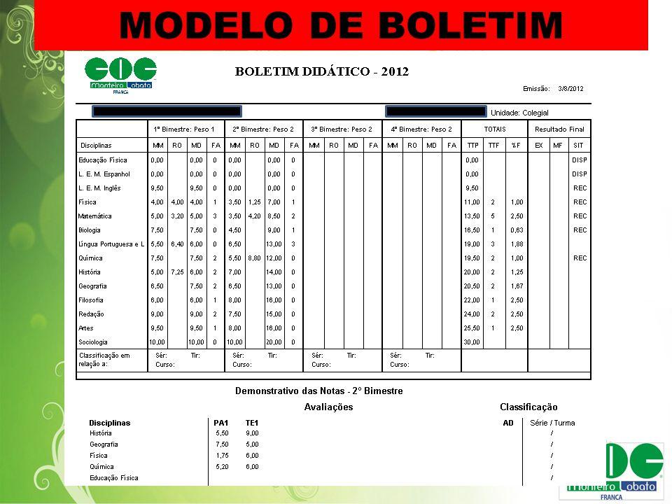 MODELO DE BOLETIM